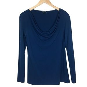 Eileen Fisher Navy Drape Silk Blouse